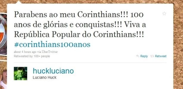 Luciano Huck homenageia o Corinthians no dia do centenário do clube (31/8/2010)