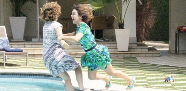 Leandra Leal e Gabriela Duarte gravam cena de