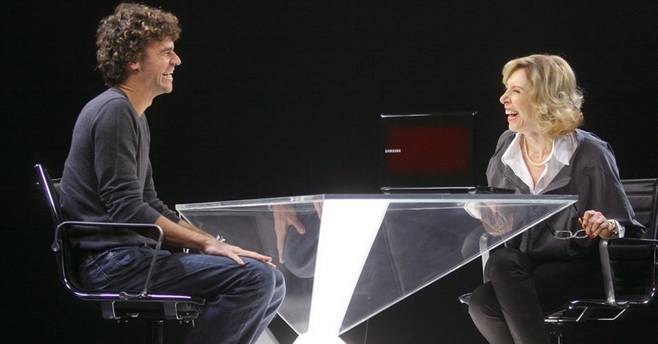 Gustavo Kuerten e Marília Gabriela durante gravação do programa