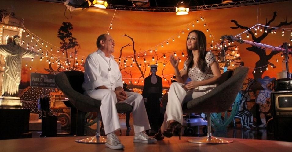 Renato Aragão é entrevistado por Patrícia Poeta para o especial de fim de ano da Globo,