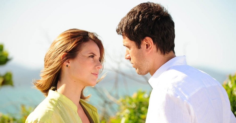 Paola Oliveira e Eriberto Leão durante gravação de