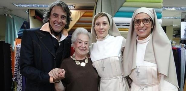 Alexandre Borges, Odete e Claudia Raia nas gravações de
