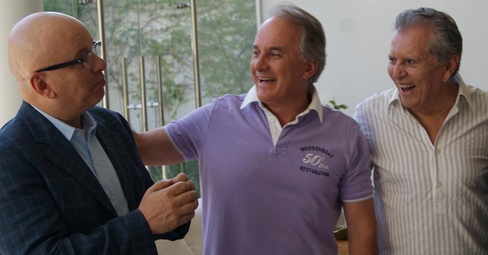 Marcelo Tas, Otávio Mesquita e Carlos Alberto de Nóbrega no programa