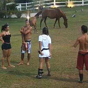Melancia, Daniel, Lizzi e Sergio batem papo na área dos animais (02/12/10)