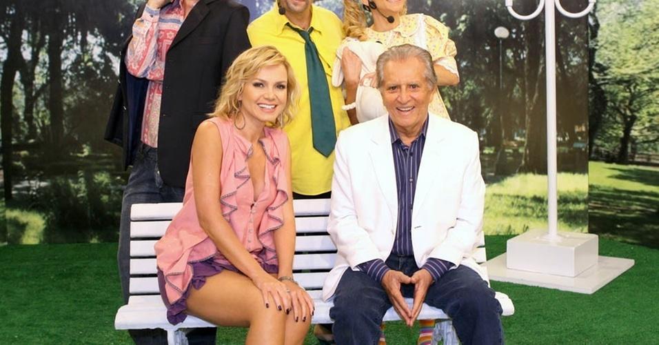 Eliana e Carlos Alberto de Nóbrega durante gravação do programa