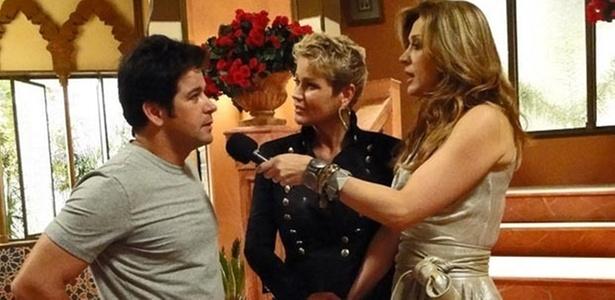 Murilo Benício, Xuxa e Claudia Raia durante gravação de