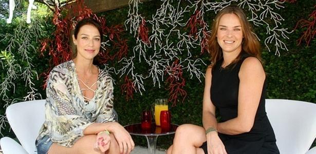 Luana Piovani recebe Letícia Birkheuer na gravação do primeiro episódio do