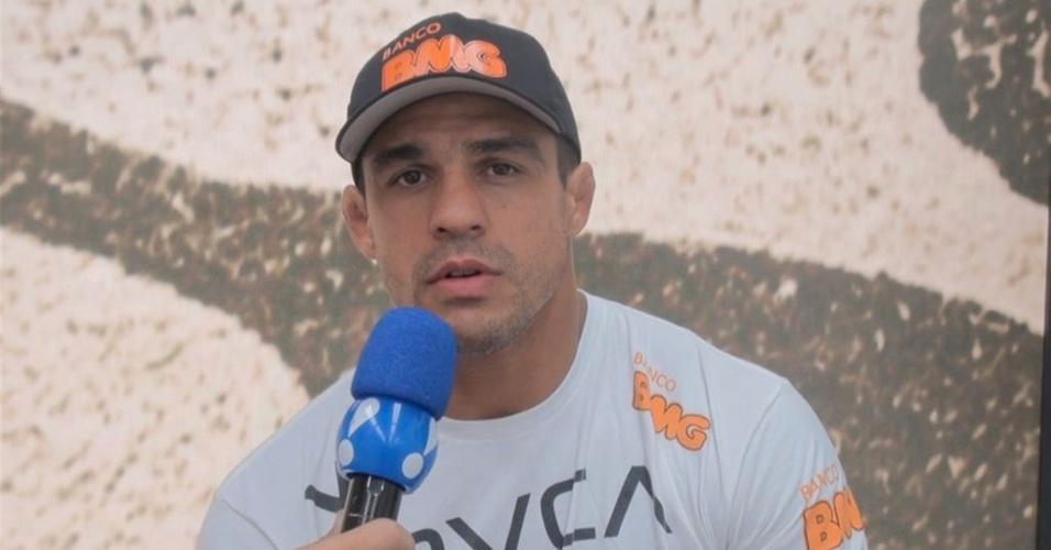 O lutador Vitor Belfort durante entrevista ao