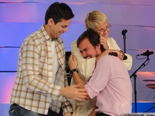 Otaviano Costa, Xuxa e Paulinho Vilhena durante gravação do