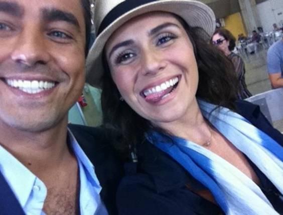 Ricardo Pereira e Giovanna Antonelli durante gravação de