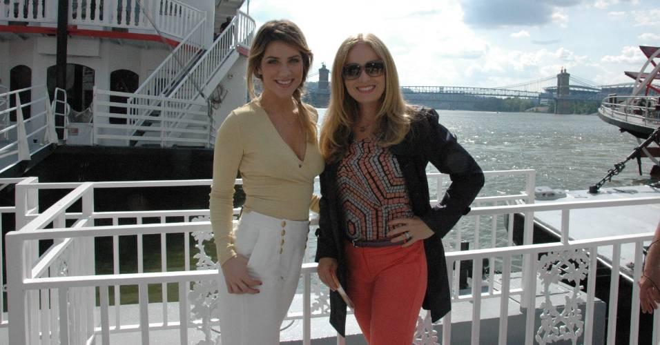 Angélica e Giovanna Ewbank durante gravação do