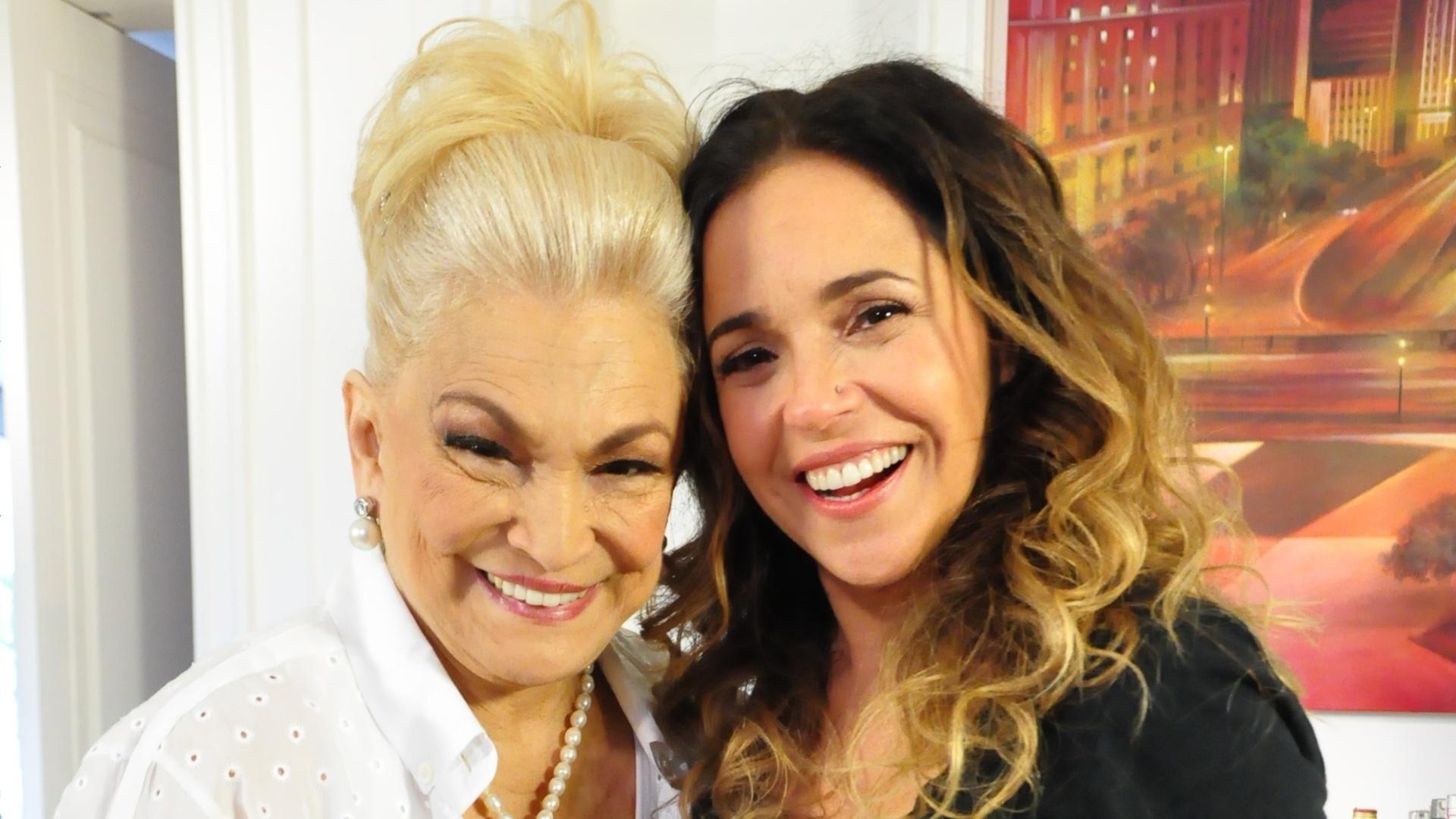 Hebe Camargo e Daniela Mercury em gravação do