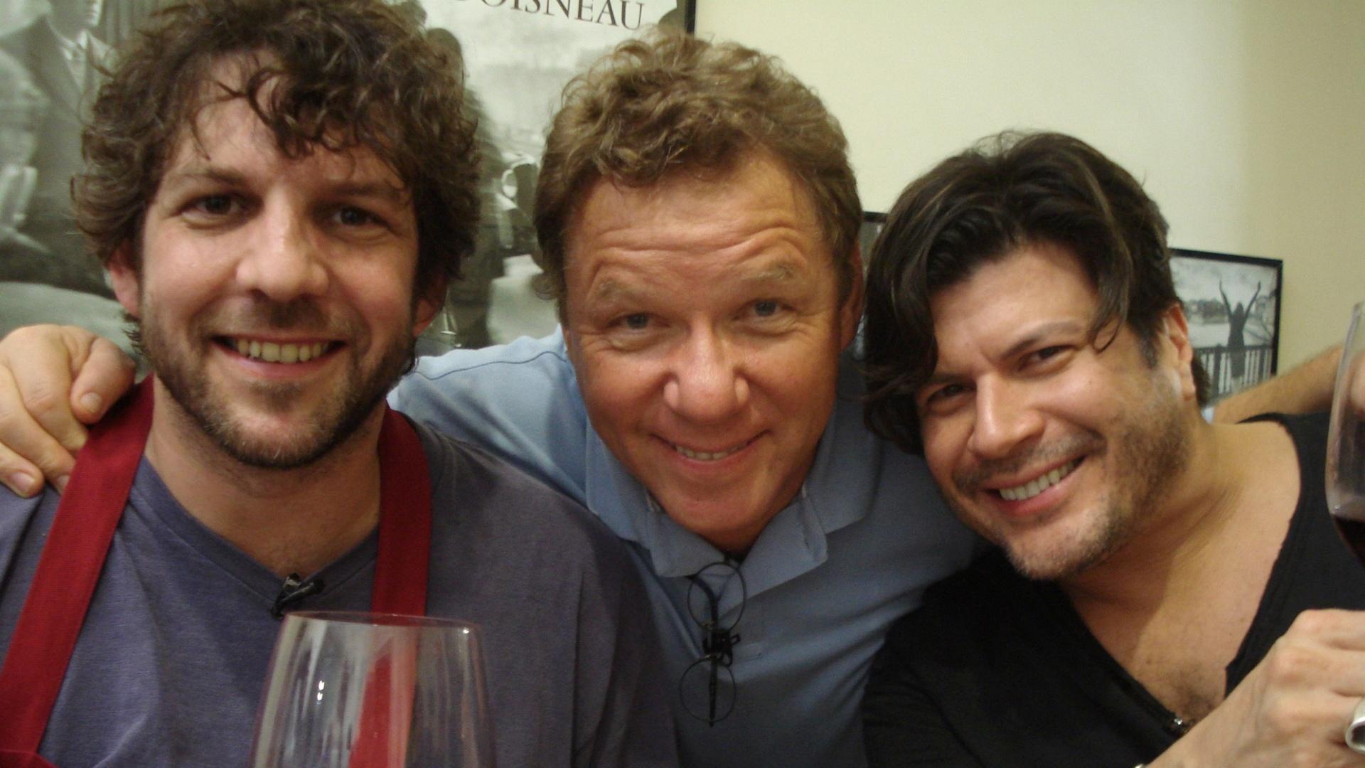 Da esquerda para a direita, Paulo Henrique, Claude Troisgros e Paulo Ricardo durante gravação da nova temporada do