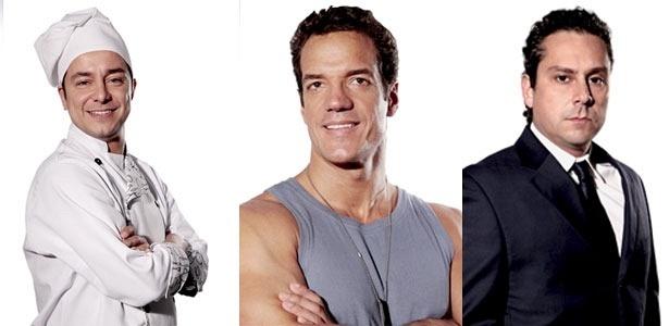 Da esquerda para a direita, os atores Carlos Vieira, Carlos Machado e Alexandre Nero, de