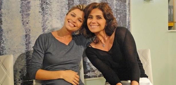 Grazi Massafera e Giovanna Antonelli posam nos bastidores de gravação de