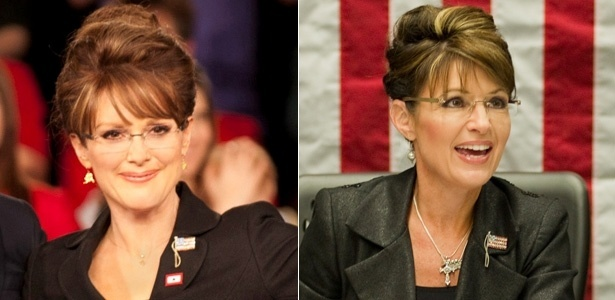 "A atriz Julianne Moore (à esquerda) interpreta a republicana Sarah Palin (à direita) no filme ""Game Change"""