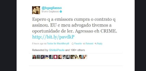 Bruno Gagliasso afirma no Twitter que Duda deve ser expulsa do reality (08/08/11)