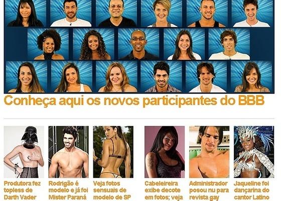 Primeira página da Globo.com no dia da divulgação dos participantes do BBB11