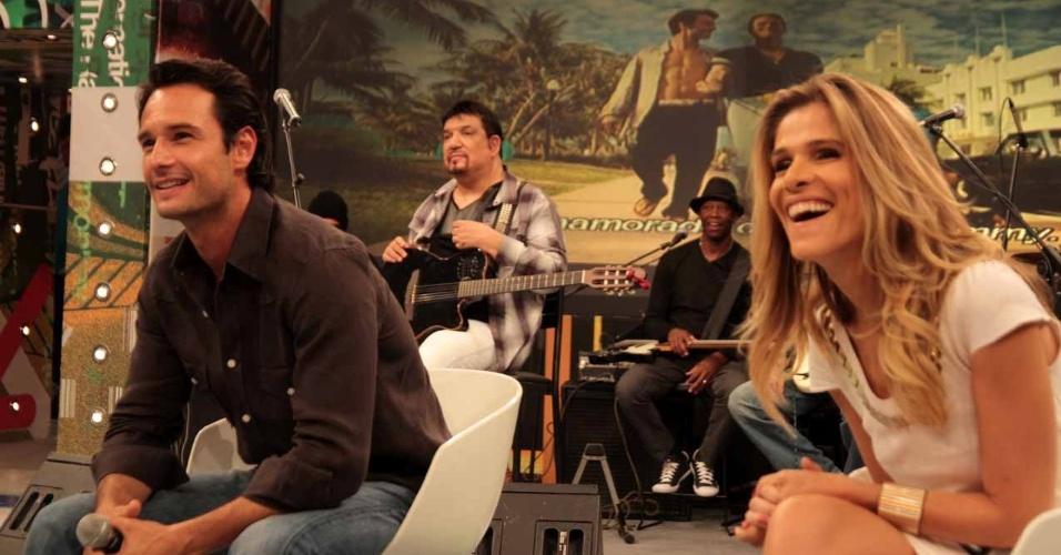 """O ator Rodrigo Santoro e a atriz Ingrid Guimarães gravam participação no programa """"Altas Horas"""", em São Paulo (22/3/2012)"""
