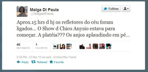 Malga Di Paula fala a primeira vez sobre a morte do marido no Twitter