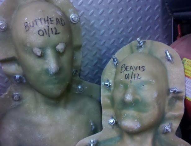 Moldes dos bonecos de Beavis e Butt-Head criado pelo artista Kevin Kirkpatrick, que também trabalha com efeitos especiais em Hollywood