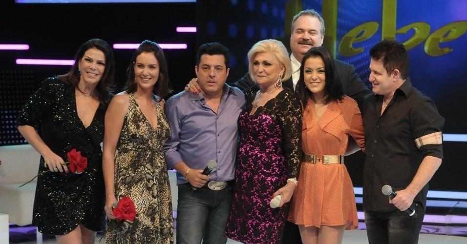 Gisele Fraga, Virgínia Novick, Bruno, Hebe Camargi, Gilberto Barros, Lissah Martins e Marrone no programa da Hebe (23/4/12)
