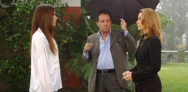"""Luiz Carlos Buruca contracena com Malu Mader (à esq.) e Claudia Abreu em """"Celebridade"""""""
