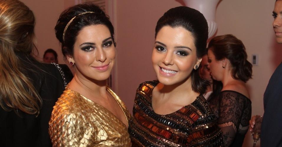 As atrizes Fernanda Paes Leme e Geovana Lancelotti  na 14ª edição do Prêmio Contigo! de TV (14/5/12)