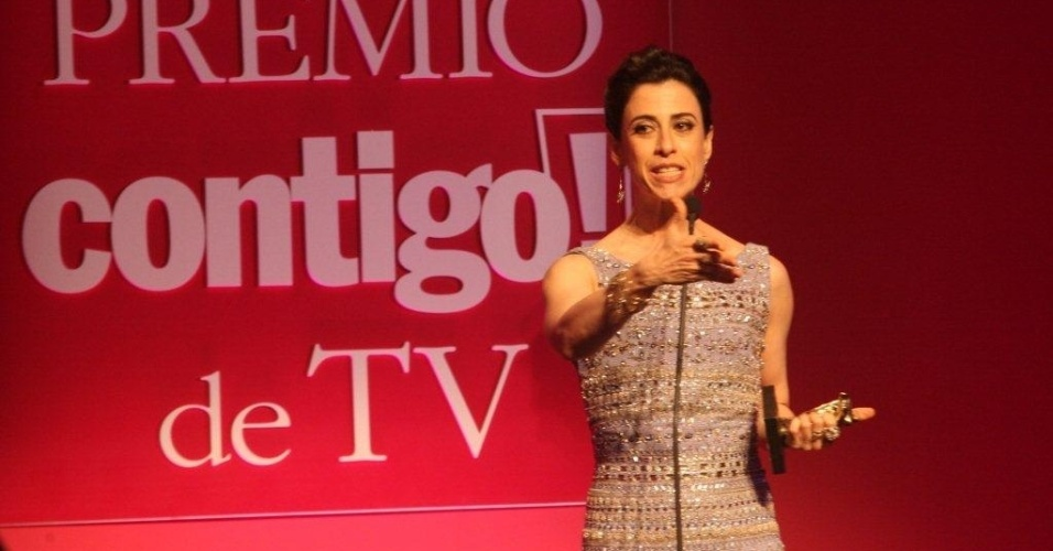 """Fernanda Torres, de """"Tapas & Beijos"""", é eleita a melhor atriz de série no 14º Prêmio Contigo! de TV, em cerimônia realizada no hotel Copacabana Palace, na zona sul do Rio (14/5/12)"""