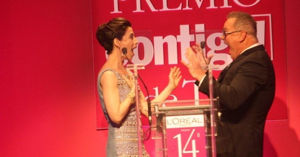 Luiz Fernando Guimarães e Fernanda Torres são os anfitriões da 14ª edição do Prêmio Contigo! de Televisão, que teve como homenageado o autor de novela Manoel Carlos por seus mais de sessenta anos dedicados à TV (14/5/12)