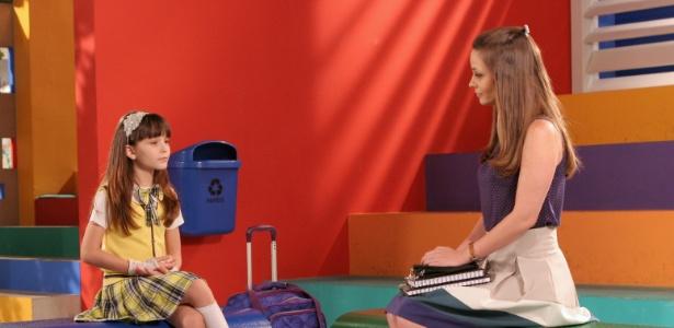 Professora Helena (Rosanne Mulholland) pede para Maria Joaquina (Larissa Manoela) dar uma chance para Cirilo (Jean Paulo Campos) A cena deve ir ao ar na terça (22/5/12)