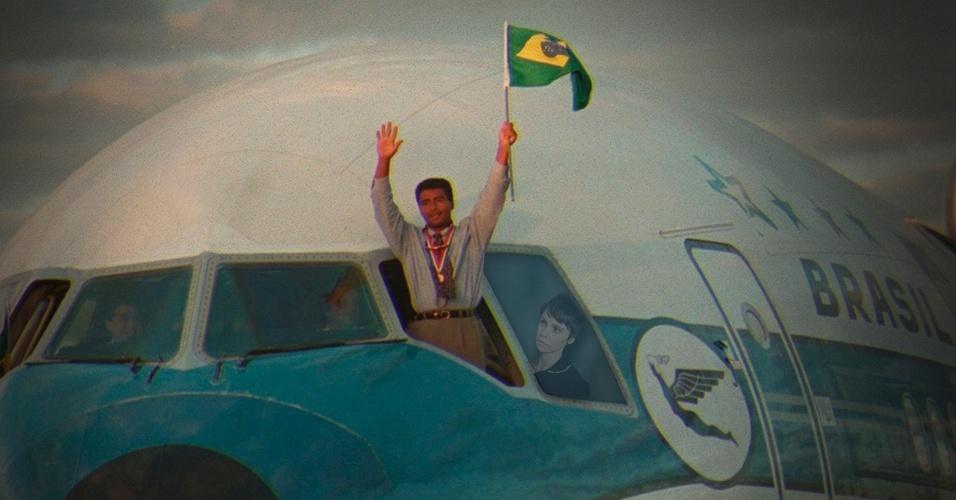 Na Copa de 1994, Nina acompanhou Romário na cabine do piloto quando a seleção chegou ao Brasil