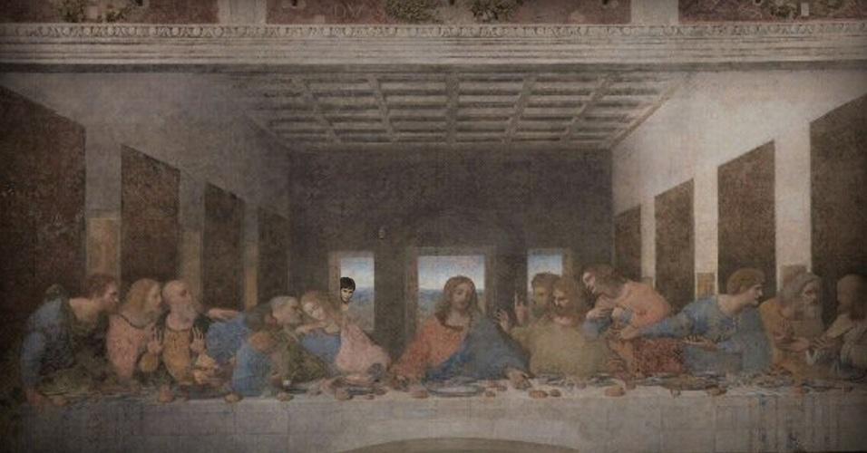 Suspeitando da traição de Judas, Nina deu uma olhada na última ceia de Jesus Cristo com seus apóstolos