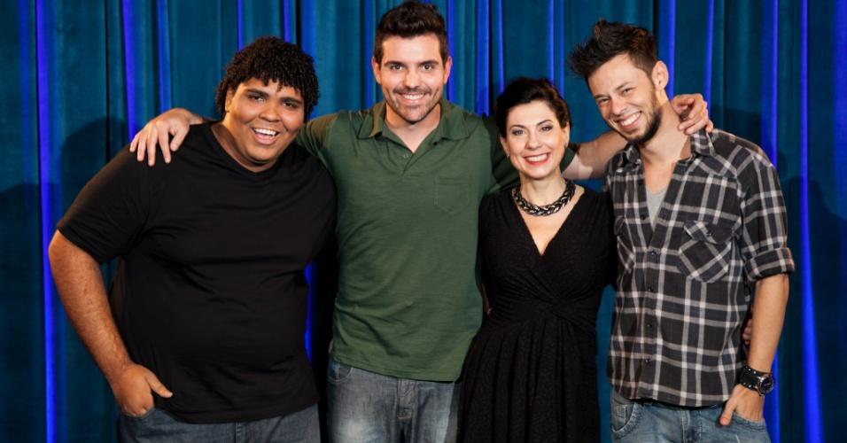 Angela Dip com Paulo Vieira, Gus Fernandes e Nando Viana