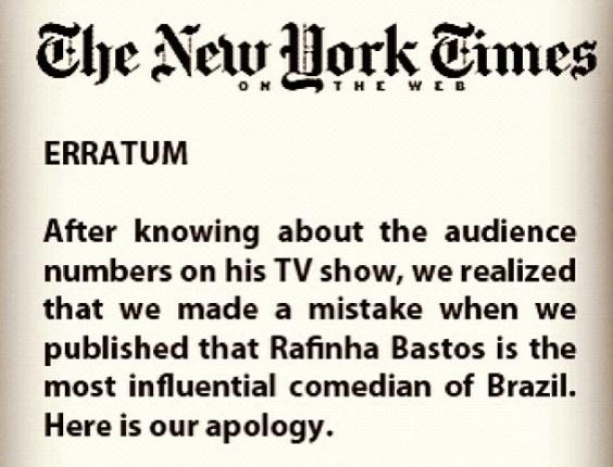 Errata feita por Danilo Gentili ironizando a audiência do programa de Rafinha Bastos