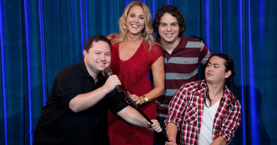 Ex-jogadora Hortência com os comediantes Alexandre Porpetone, Murilo Gun e André Santi