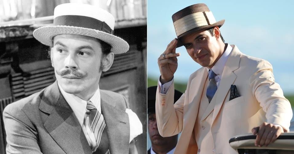 Da esquerda para a direita, os atores José Wilker e Mateus Solano em cena de