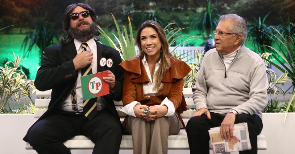 Da esquerda para a direita, Repórter Português (Oscar Pardini), Patrícia Abravanel e Carlos Alberto de Nóbrega em