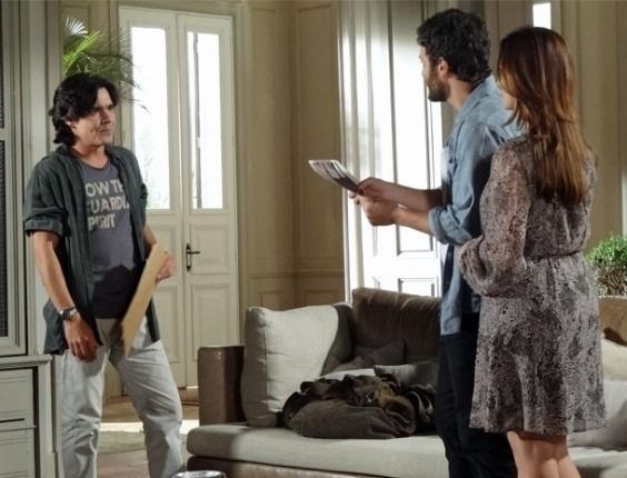 """André Gonçalves, Gabriel Braga Nunes e Mayana Neiva em cena de """"Amor Eterno Amor"""" (21/6/2012)"""
