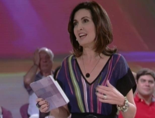 """No fim de """"Encontro com Fátima Bernardes"""", a jornalista assumiu que seu maior sonho foi realizado hoje, com a estreia de seu programa (25/6/12)"""