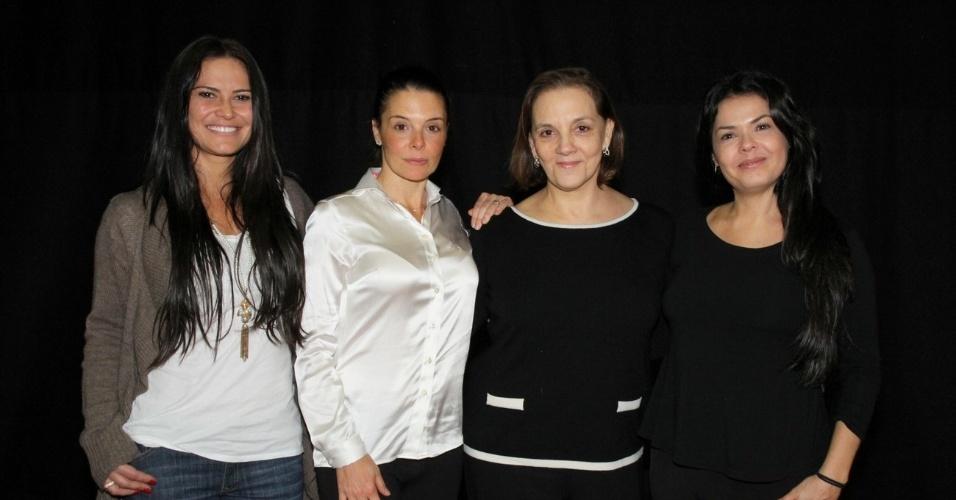 "A atrizes Carla Regina, Mylla Christie, Denise Del Vecchio e Andréa Avancini no workshop de ""José - De Escravo a Governador"", no Rio (9/7/12)"