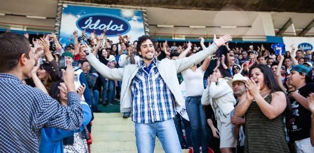 Marcos Mion no Estádio do Canindé, em São Paulo, para a última fase de audição da temporada 2012 de Ídolos (14/7/12)