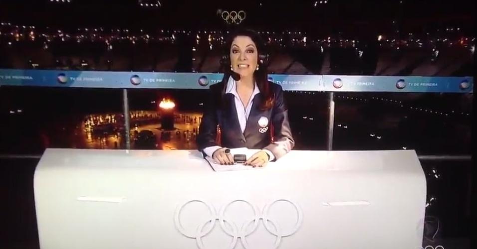 Ana Paula Padrão, na bancada exclusiva da Rede Record, no estádio olímpico de Londres (27/07/2012)