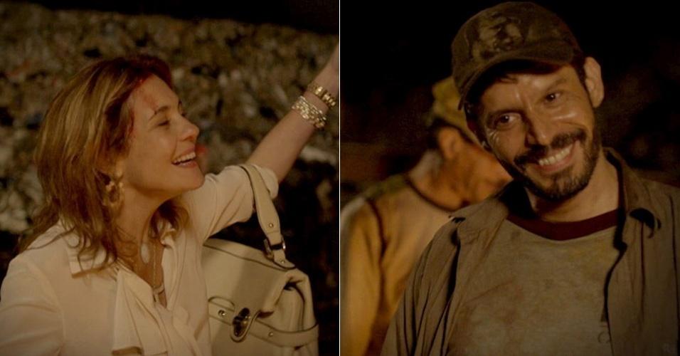 """Em """"Avenida Brasil"""", embriagada, Carminha tenta beijar catador no lixão (9/8/12)"""