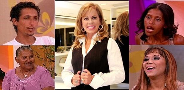 """A apresentadora de """"Casos de Família"""", Christina Rocha (centro) e alguns dos participantes do programa"""