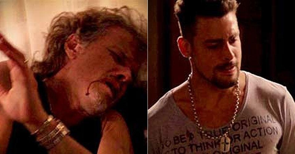 """Jorginho (Cauã Reymond) descobre que Max (Marcello Novaes) é seu pai. Os dois discutem, o jogador o agride e Max perde até um dente. """"Vim fazer uma visita para o meu papai"""", diz o filho de Carminha, irônico. A cena vai ao ar nesta sexta-feira (17/8/2012)"""