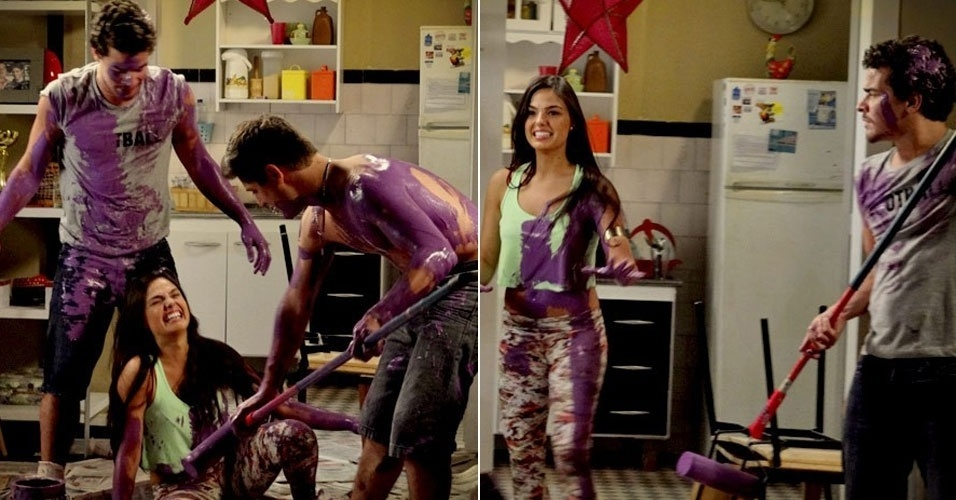 """Em """"Avenida Brasil"""", Roni, Suelen e Leandro fazem brincadeira com tinta com intimidade entre os dois"""