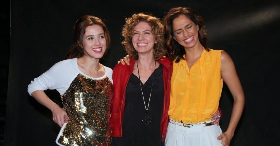 """Marjorie Estiano, Patrícia Pillar e Camila Pitanga participaram da coletiva de apresentação da novela """"Lado a Lado"""", no Projac, zona oeste do Rio (24/8/12)"""