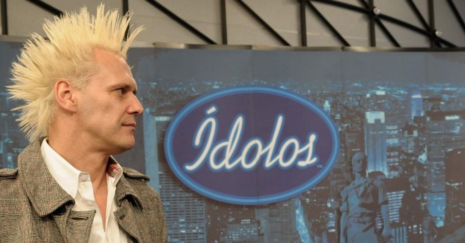 """Jurado do """"Ídolos"""", Supla participa da entrevista coletiva em São Paulo (28/8/12)"""