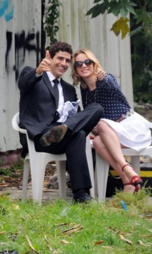 "Reynaldo Gianecchini e Mariana Ximenes gravaram nesta quinta cenas da novela ""Guerra dos Sexos"" no bairro do Recreio dos Bandeirantes, zona oeste do Rio (29/8/12)"